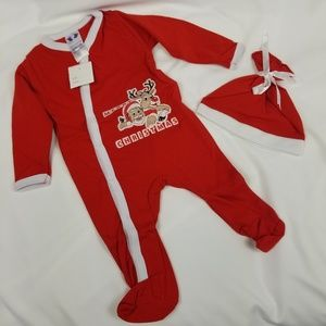 Baby's First Christmas Red & White Sleeper Set